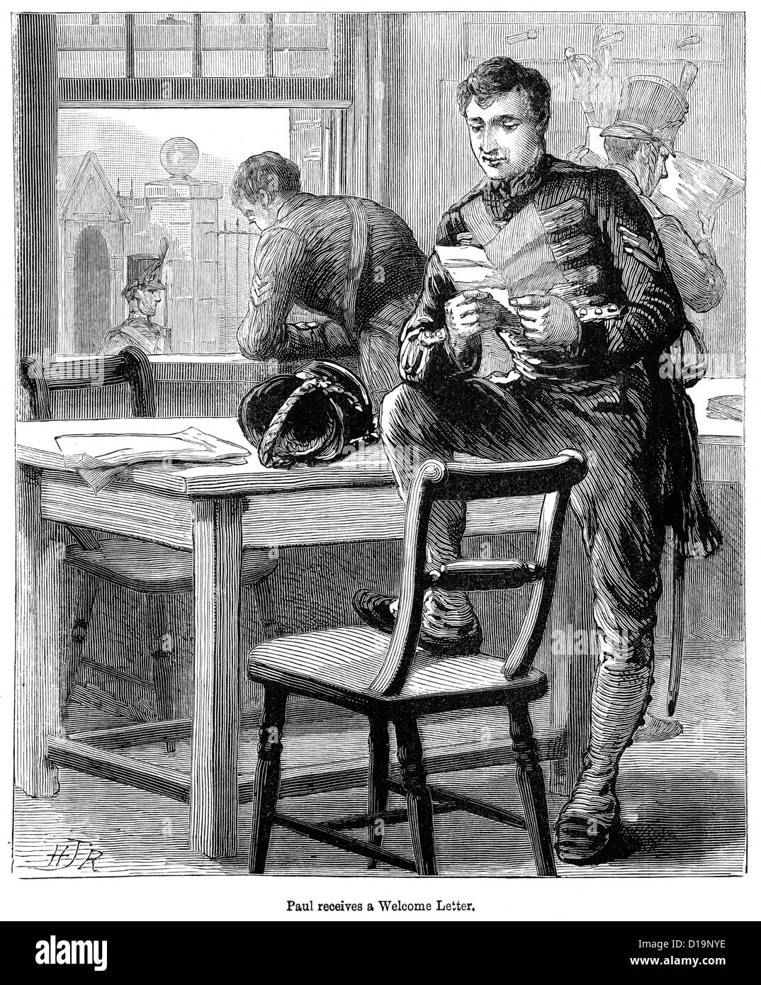 Victorian engraving of British from the period of the Napoleonic Wars receives a welcome letter from home - Stock Image