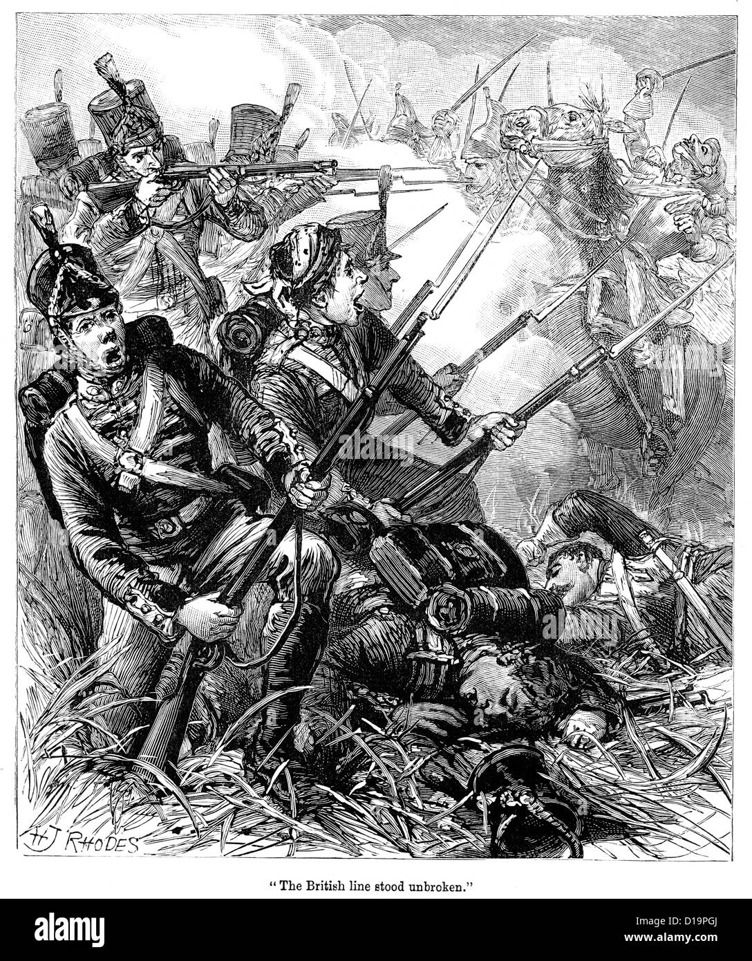 Victorian engraving of British infantry square resisting a cavalry change from the French during the Napoleonic - Stock Image