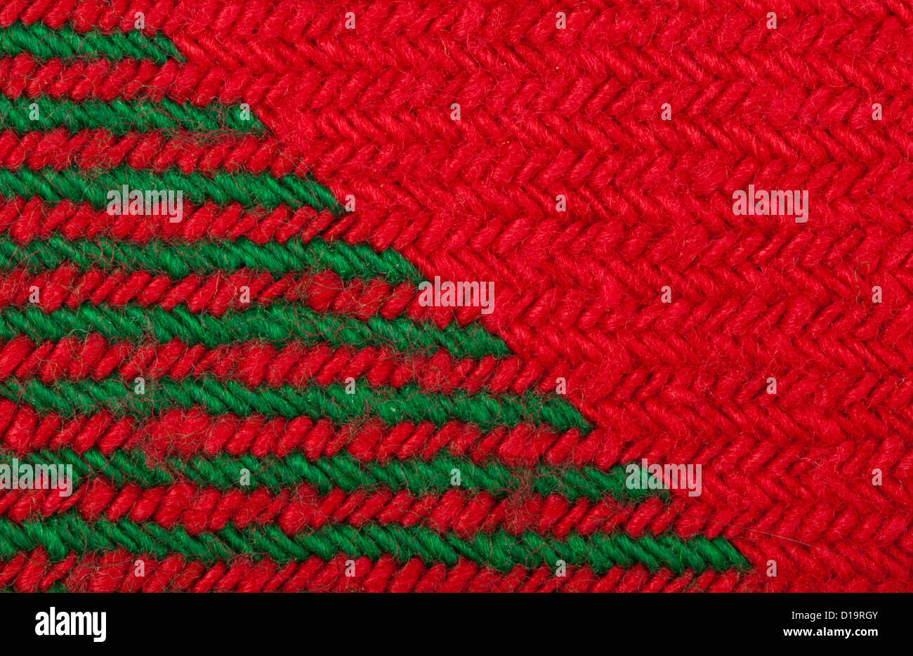 handmade knit green and red background close up structure of the yarn christmas colors
