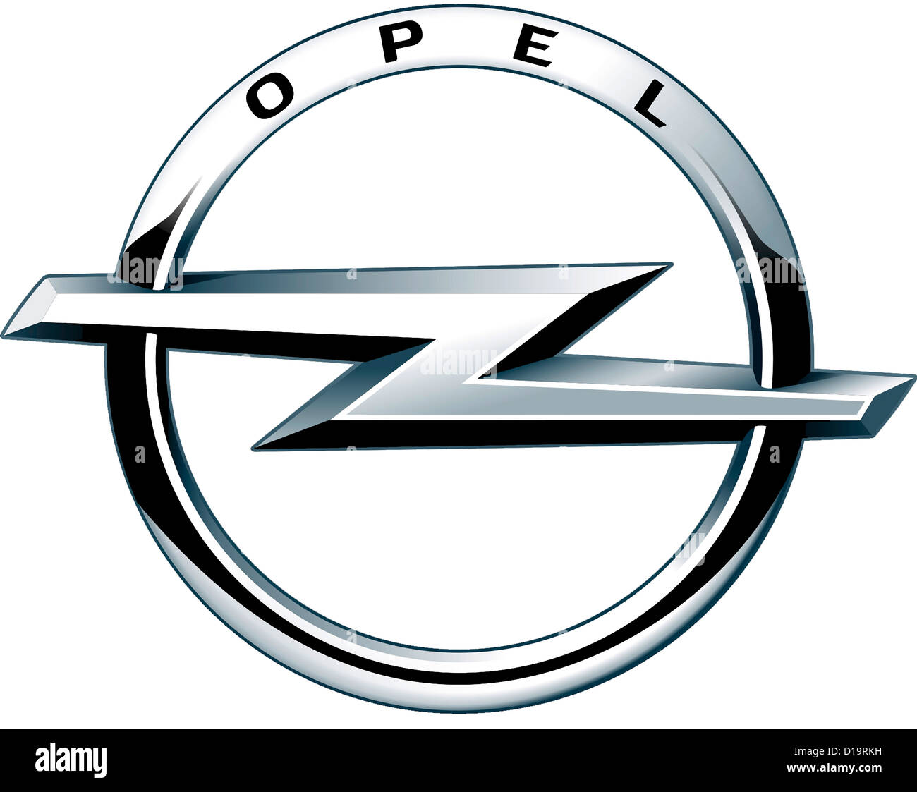 Logo of the German automobile manufacturer Opel with seat in Ruesselsheim - Adam Opel AG. - Stock Image