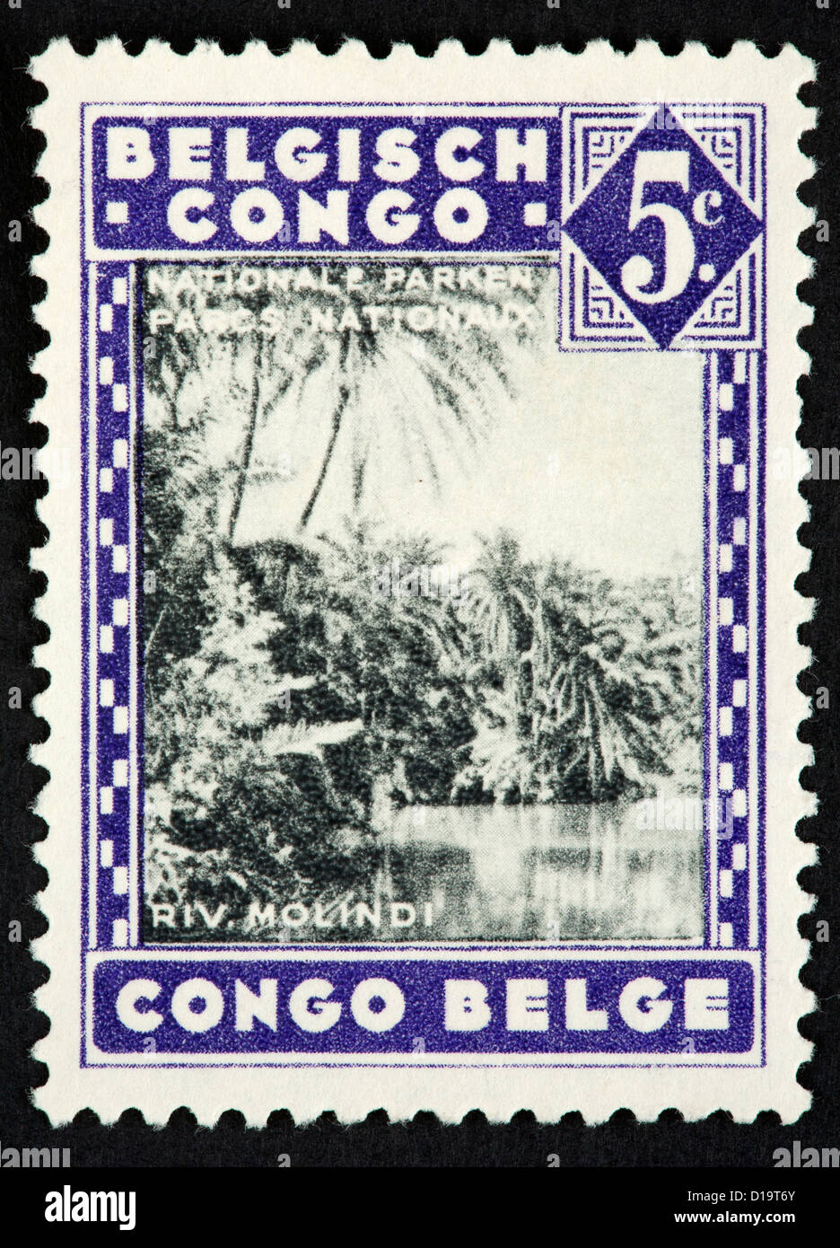 Belgian Congo postage stamp - Stock Image