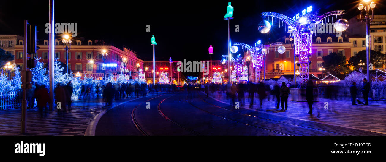 Christmas decoration and illumination in the place massena in Nice, France - Stock Image