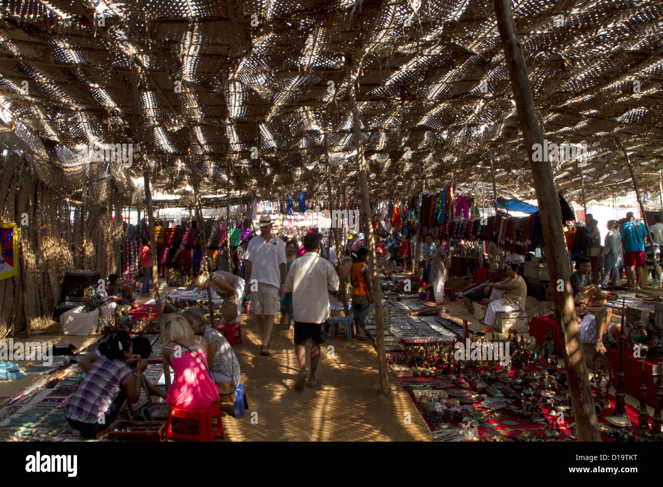 Silver and tibetan jewelry section at Anjuna Flea market. Goa India - Stock Image