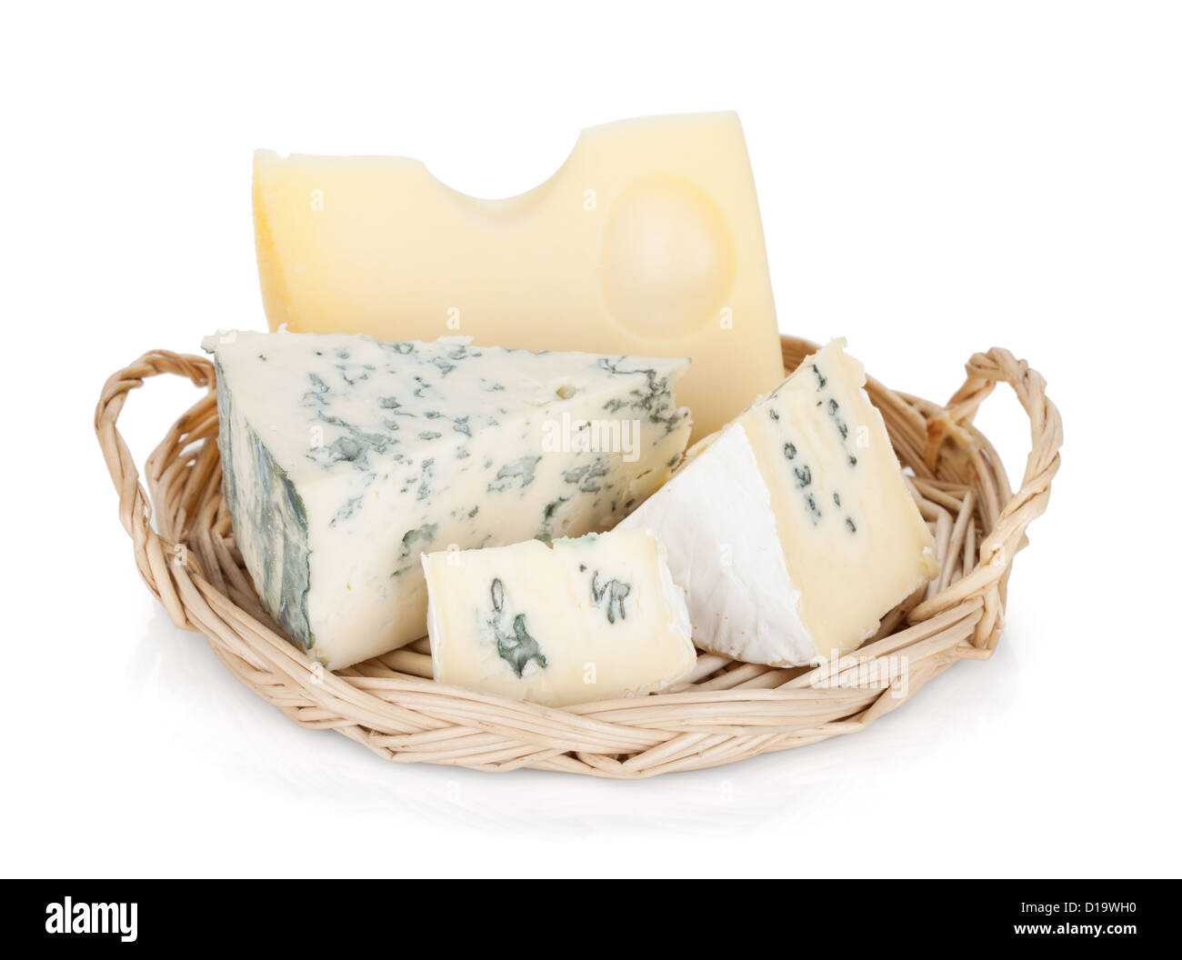 Various types of cheeses. Isolated on a white background. - Stock Image