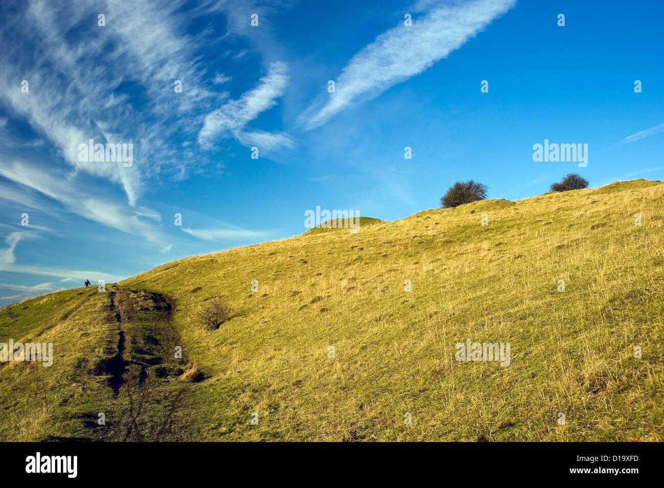 Pitstone Hill on The Ridgeway National Trail, Buckinghamshire, UK - Stock Image