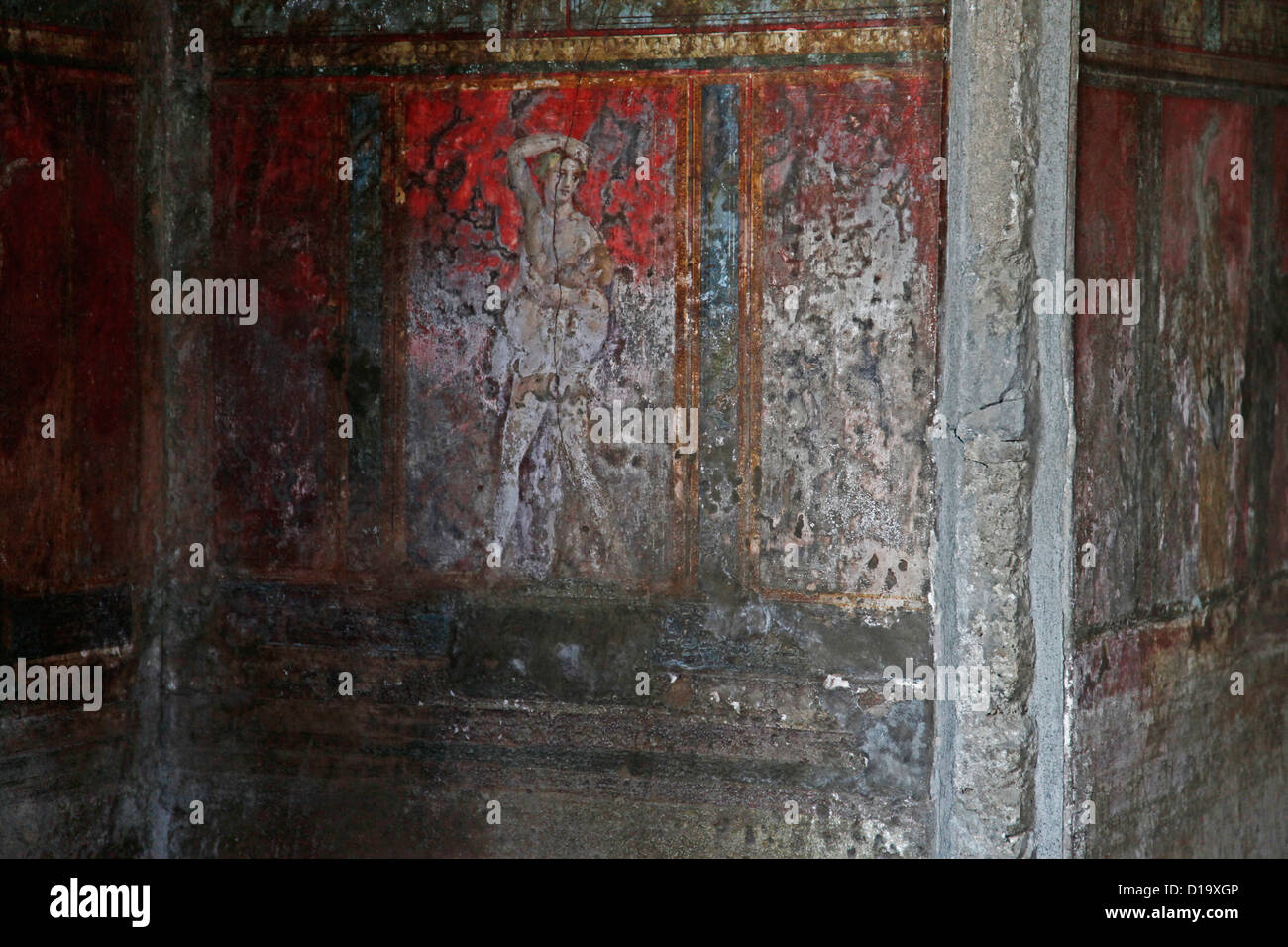 Italy, Campania, Pompei, fresco of Villa dei Misteri - Stock Image