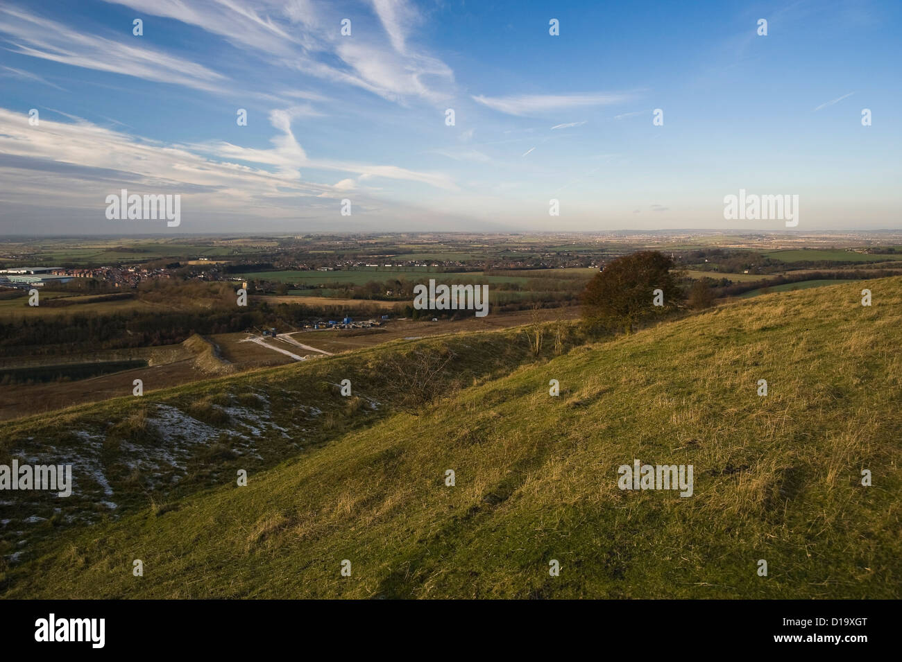 The Grim's Ditch on The Ridgeway National Trail on Pitstone Hill, Buckinghamshire, UK - Stock Image