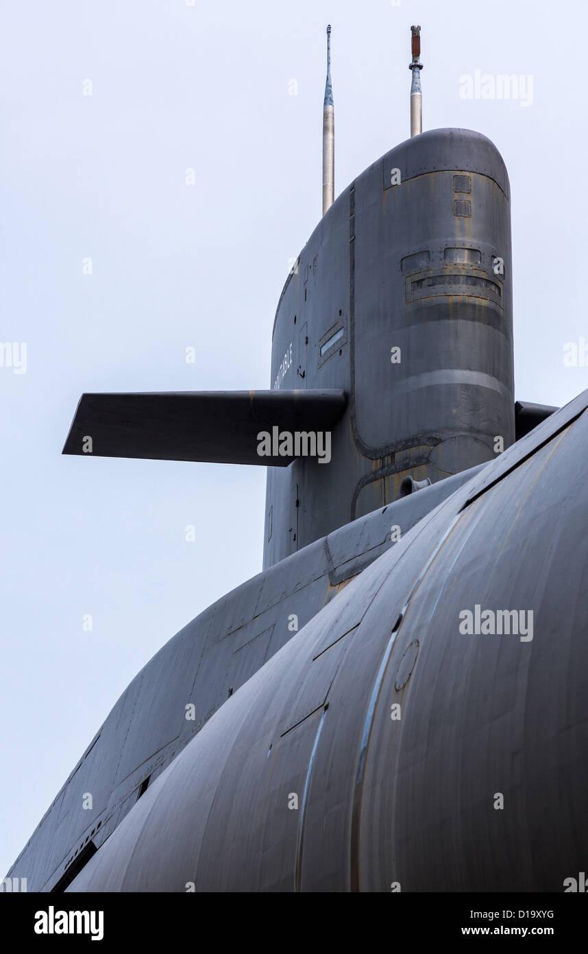 France, Normandy, Cherbourg, La Cité De La Mer, the nuclear submarine 'Le Redoutable' - Stock Image