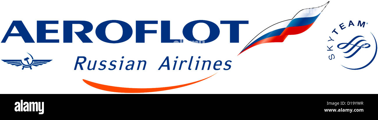 Logo of the Russian airline company Aeroflot. - Stock Image
