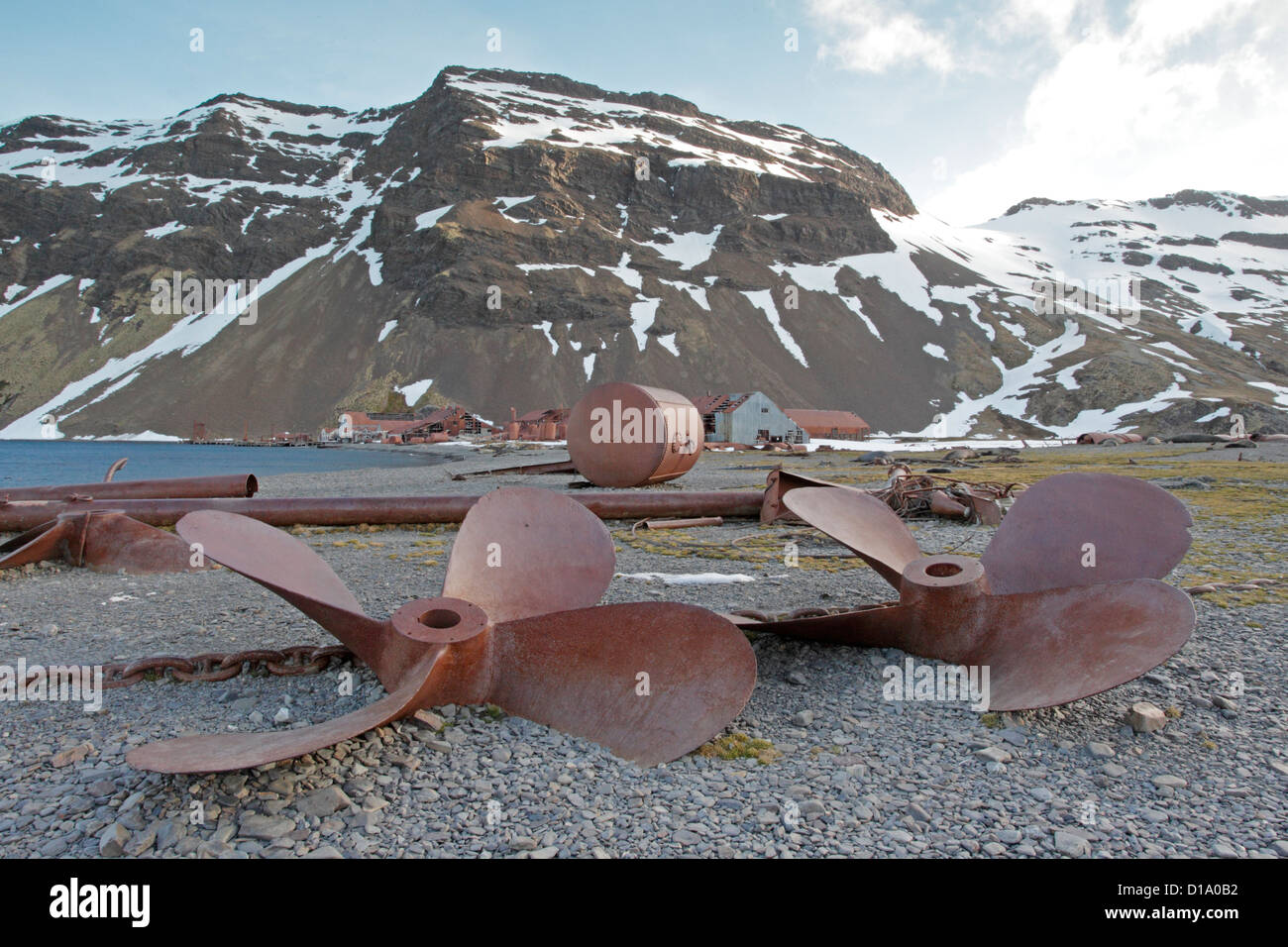 View of derelict Stromness whaling station showing old propellers - Stock Image