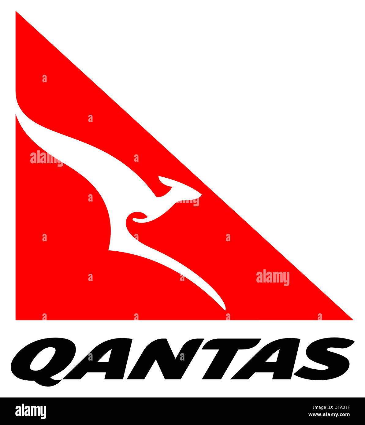 Logo of the Australian airline Quantas Airways with seat in Botany Bay city centre. - Stock Image