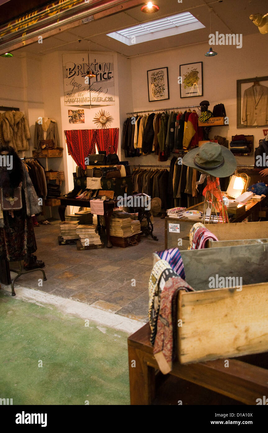 Tique Booty Vintage clothing Store on Brixton's Market Row - Stock Image