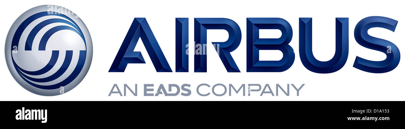 Logo of the European aircraft manufacturer Airbus with seat in Toulouse. - Stock Image