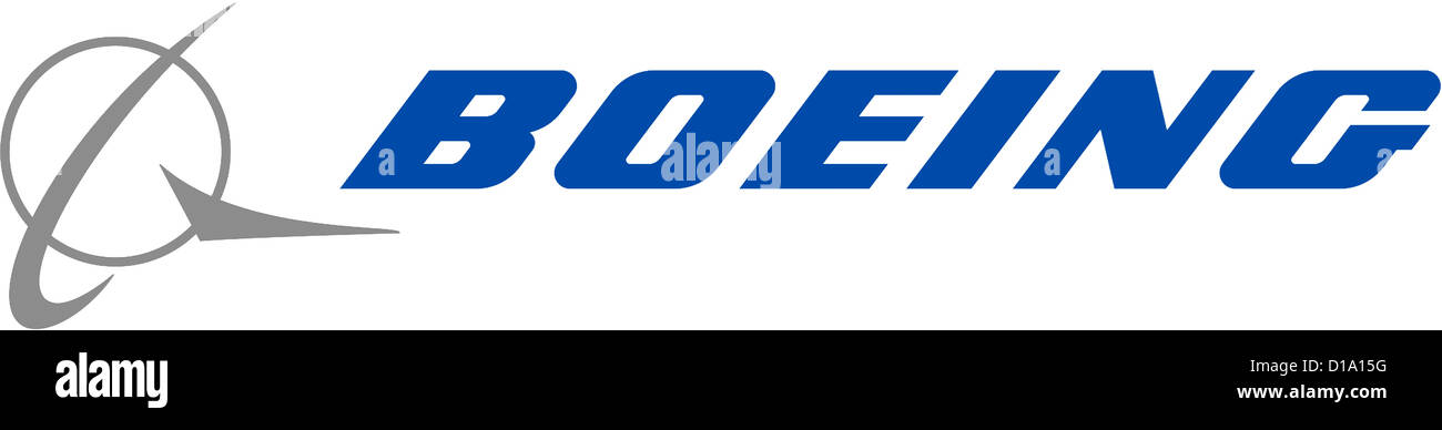 Company logo of the American aircraft manufacturer Boeing with seat in Chikago. - Stock Image