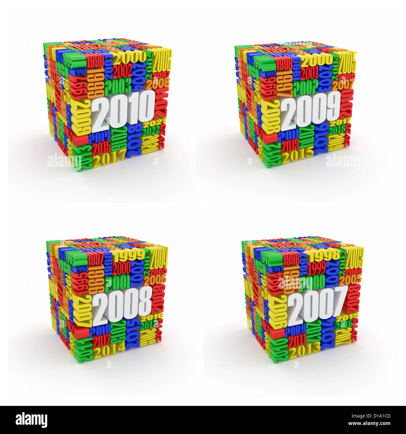 New year 2010, 2009, 2008, 2007. Cube consisting of the numbers. 3d - Stock Image