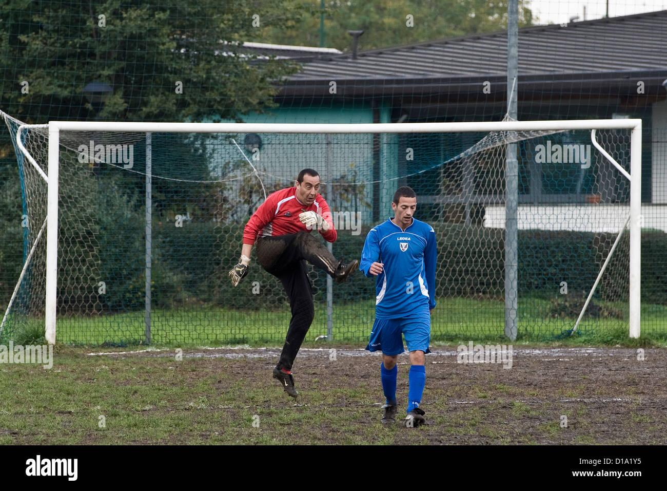 Italy, Sesto san Giovanni, football game - Stock Image