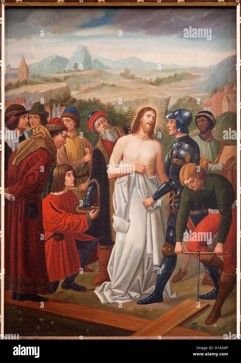 BRUSSELS - JUNE 25: Jesus Stripped of His Garments. Paint from st. Niklas and Jean s church from 19. cent. on June - Stock Image