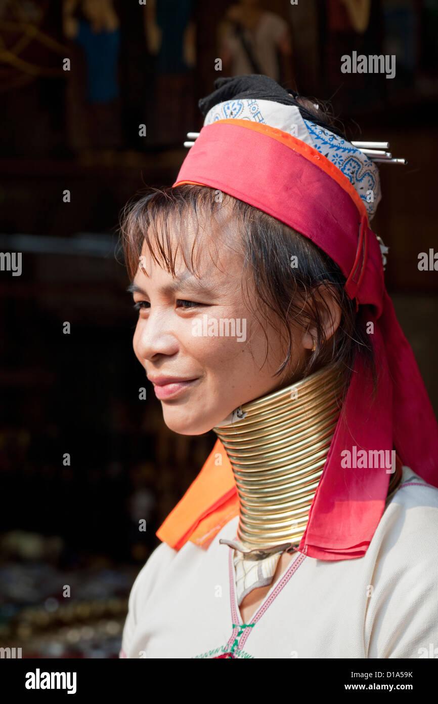 Woman from the Kayan minority group, Huai Seau Tao, Mae Hong Son Province, Thailand Stock Photo