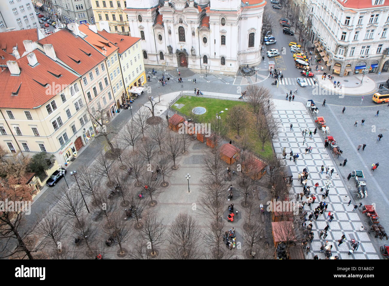 Aerial view of old town square, Prague, Czech Republic - Stock Image