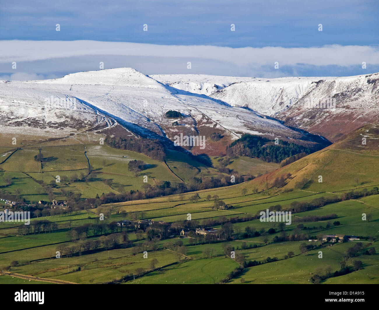 snow covered Kinder Scout and Edale seen from Hollins Cross,winter,  Peak District National Park - Stock Image