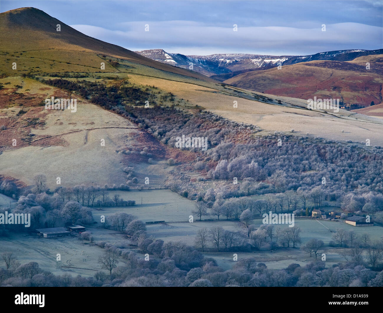 Lose Hill on a cold morning in December,  Peak District National Park - Stock Image