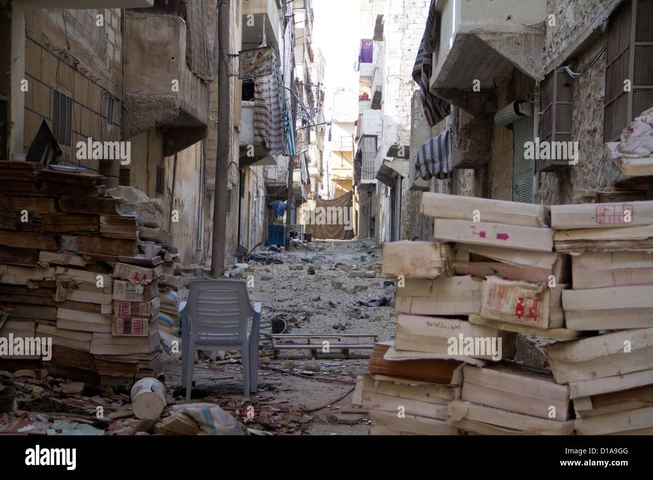 November 29 ,2012 - Aleppo, Syria: Blockades and blinds are set up on frontlines in Amaria. - Stock Image