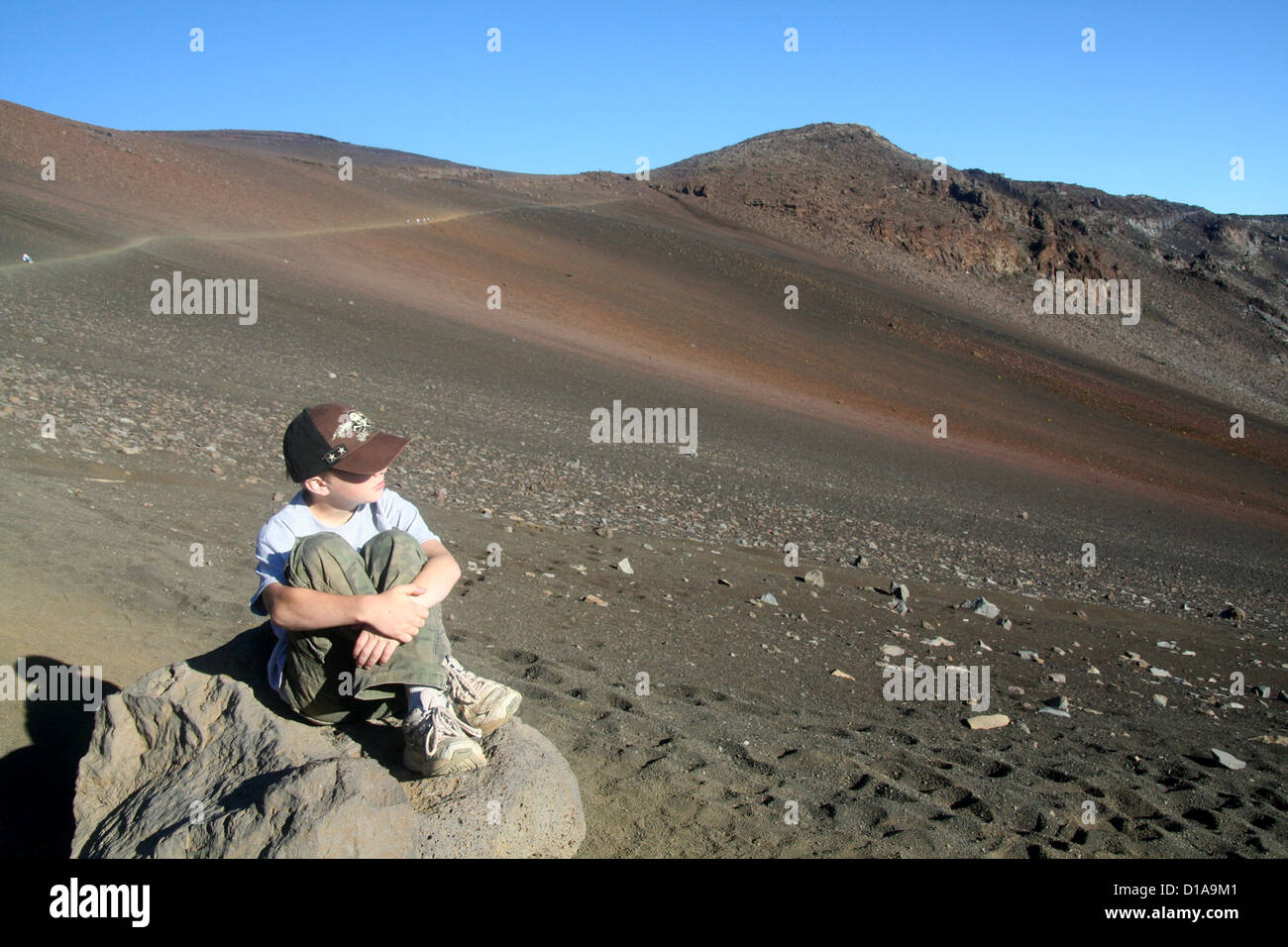 Boy taking in the view of Haleakala crater, Maui, Hawaii Stock Photo
