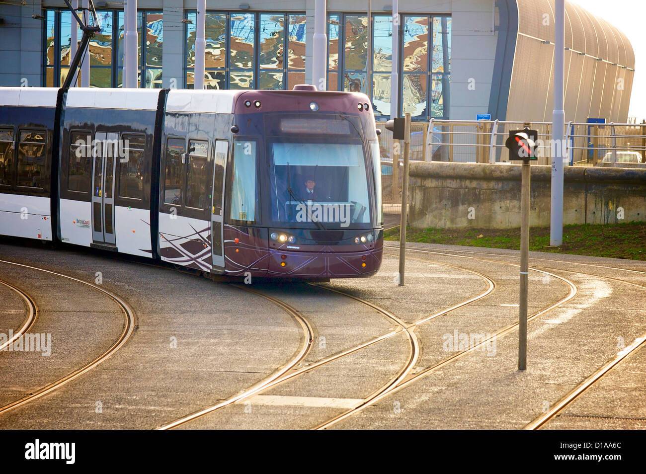 Bombardier tram leaving the new tram depot in Blackpool,Lancashire,UK - Stock Image