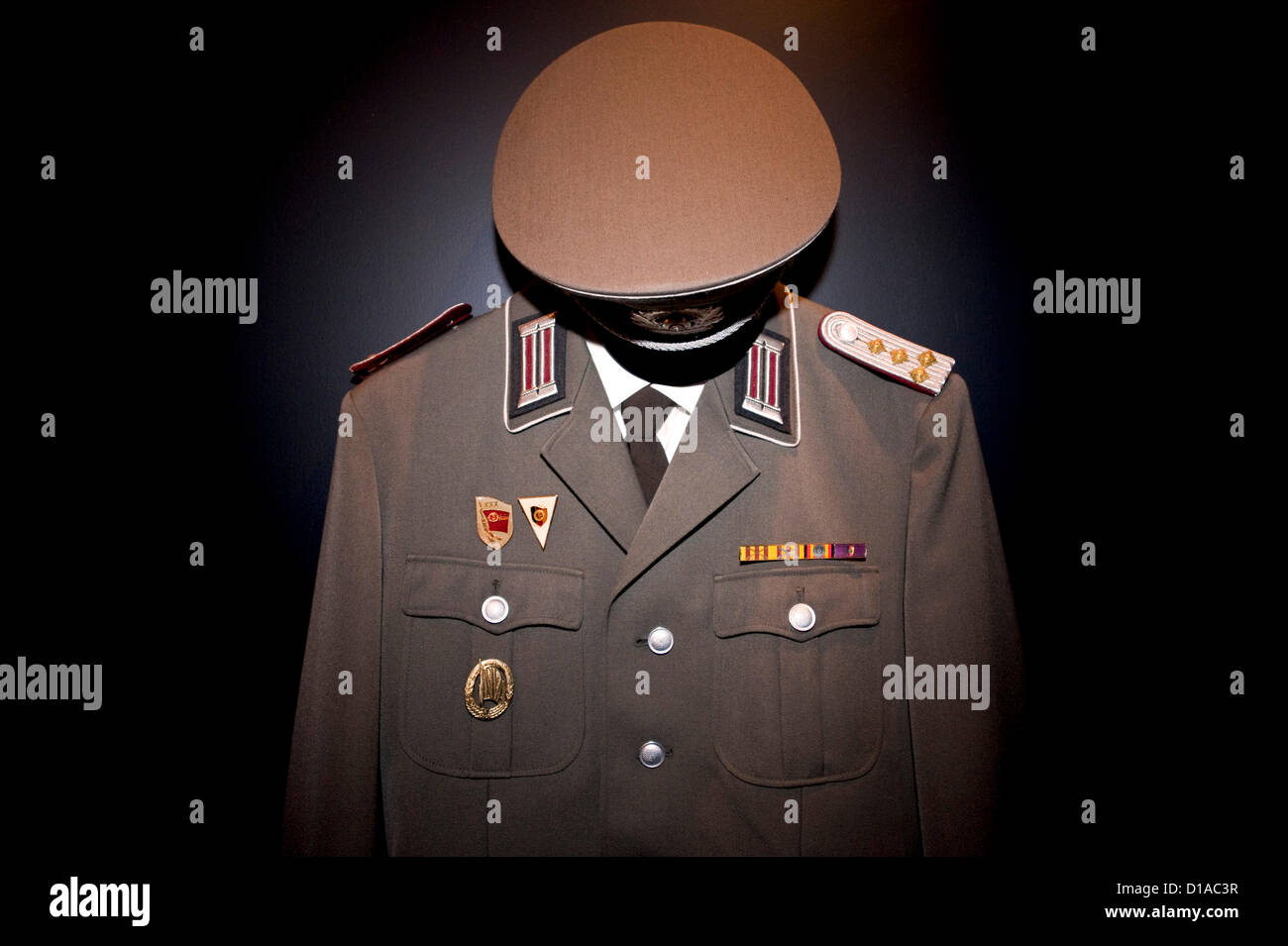 Dec. 12, 2012 - Culver City, CA, US -  An East German military uniform hangs on display at The Wende Museum, which - Stock Image