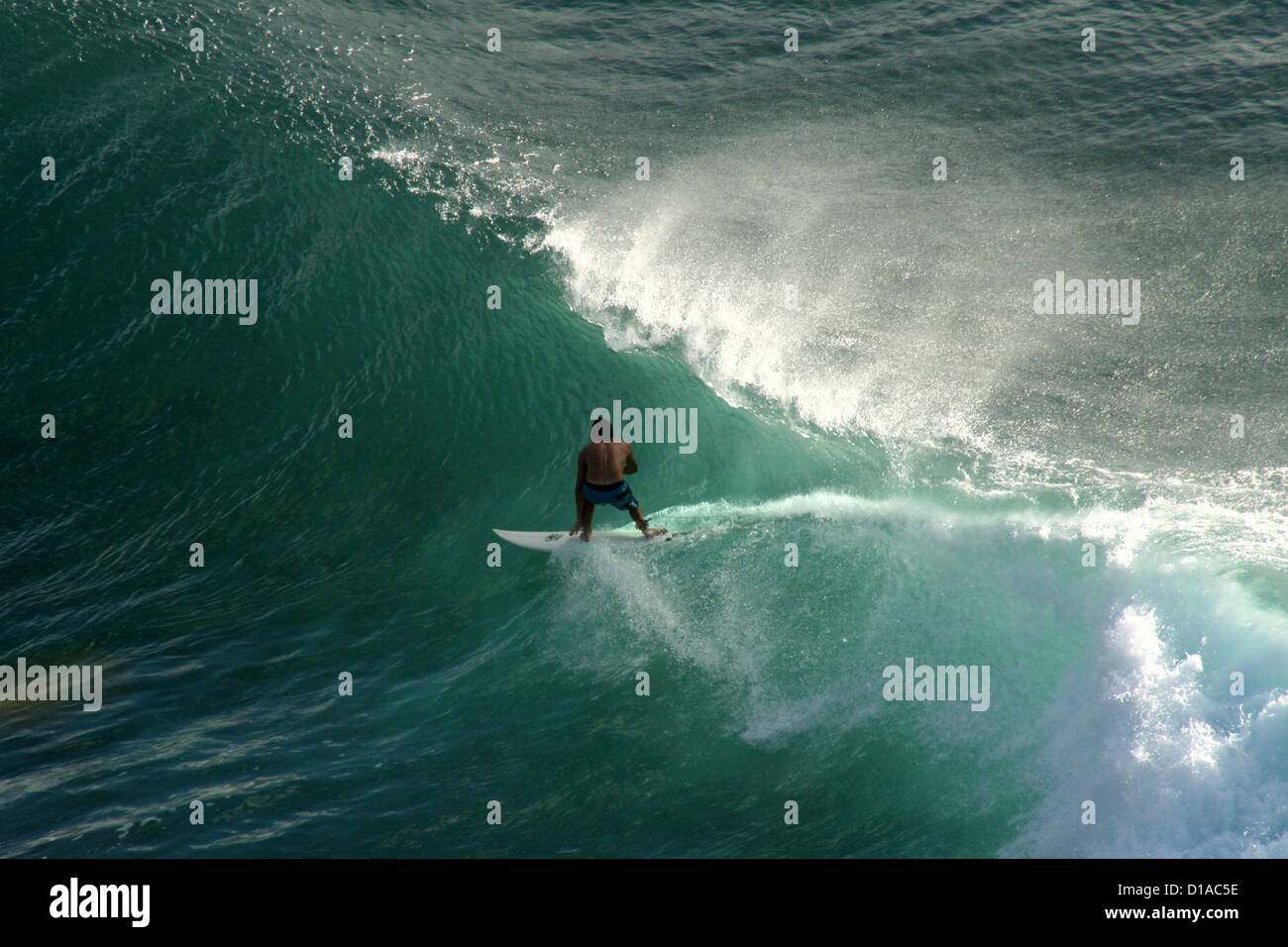 Surfer riding big wave with ocean spray, Maui, Hawaii Stock Photo