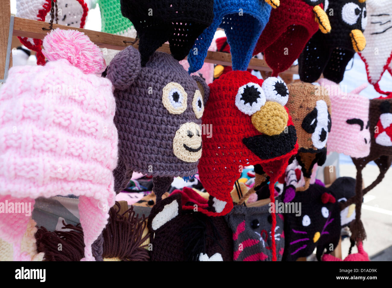 Character trapper hats on display - Stock Image
