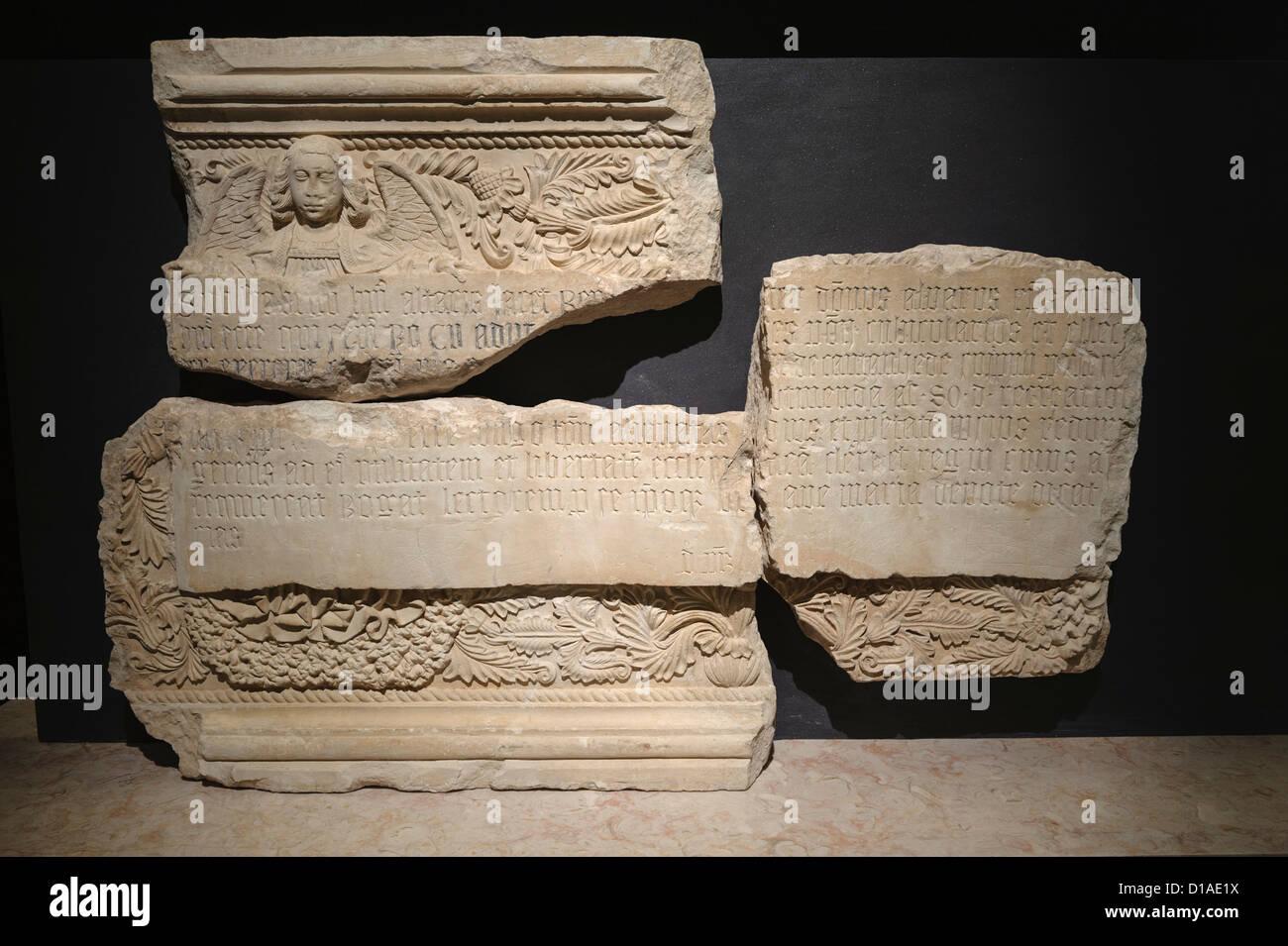 Ancient latin writings on stone - Stock Image