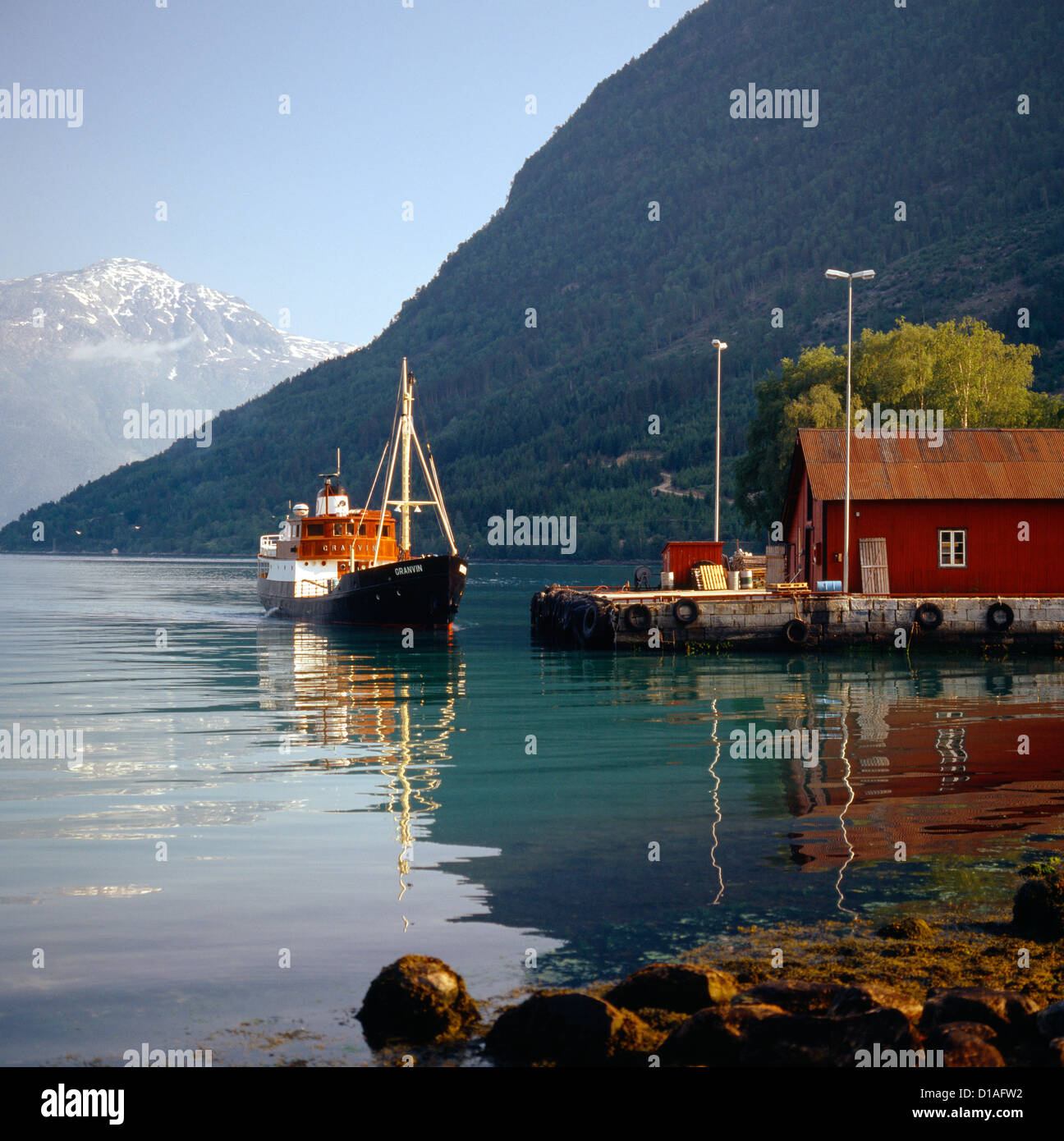 The old historic vessel Granvin docking at the harbor - Stock Image