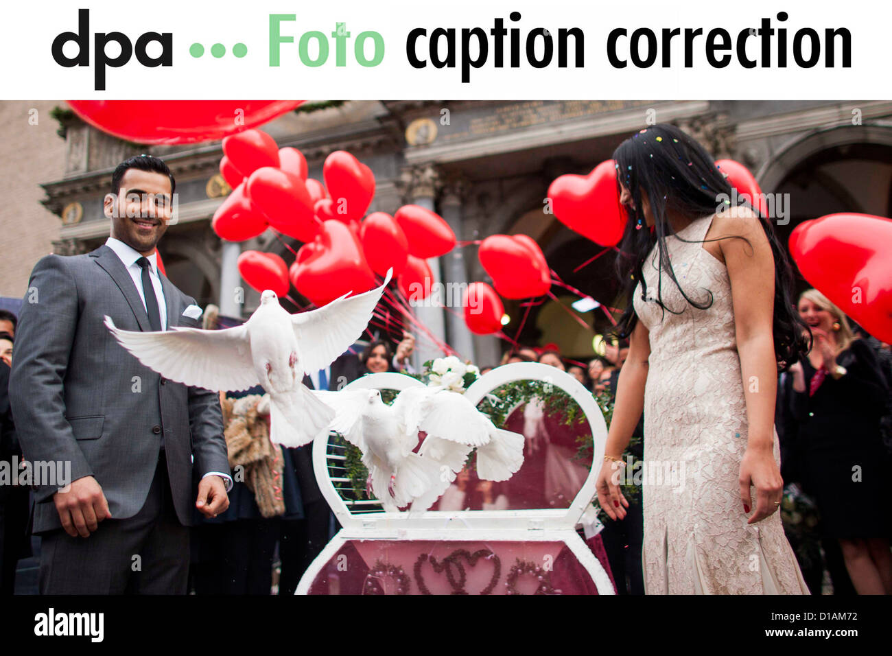 Dear customers, please excuse a mistake in the caption. The wedding took place in Cologne, not in Berlin-Neukoelln. - Stock Image