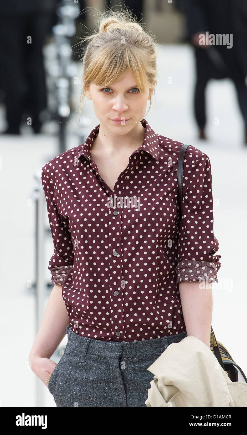 Clemence Posey arrives for the Burberry Prorsum fashion show at a central London venue. - Stock Image