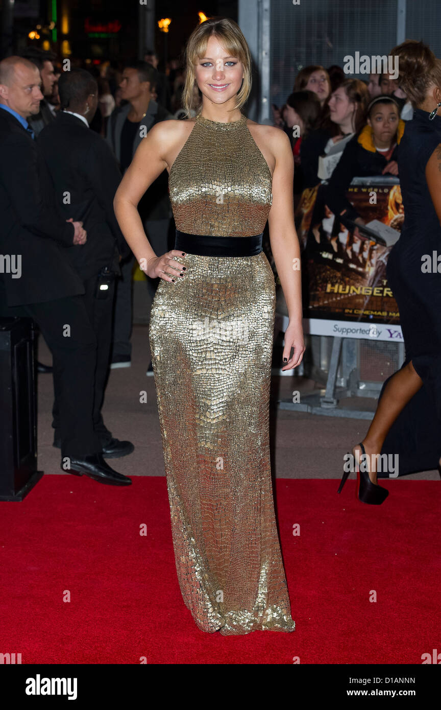 Jennifer Lawrence arrives at 'The Hunger Games' UK film premiere at the O2 arena in London. - Stock Image