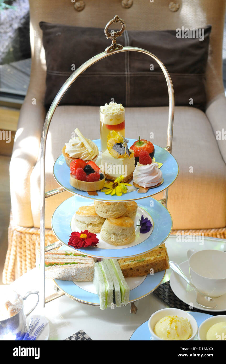 Afternoon Tea at The Athenaeum Hotel, Piccadilly, Mayfair, London, England - Stock Image