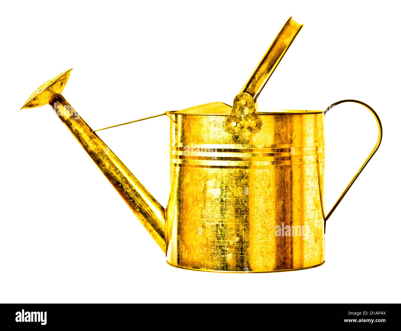 golden metal watering can isolated on white background - Stock Image