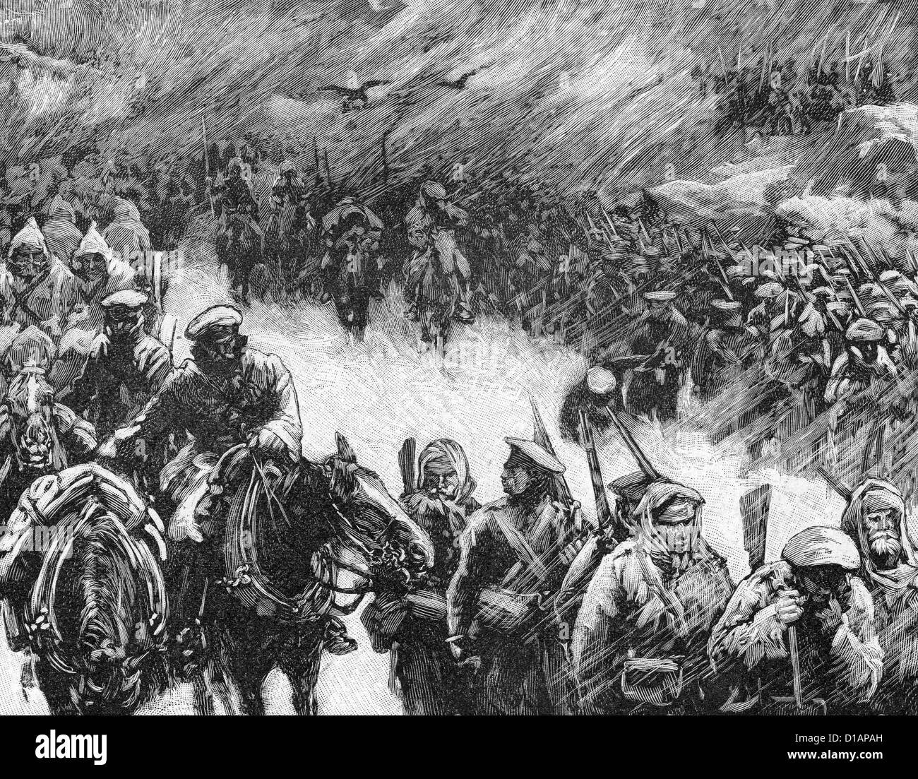 RUSSO-TURKISH WAR 1877-1878. Russian soldiers crossing the Balkans in winter - Stock Image