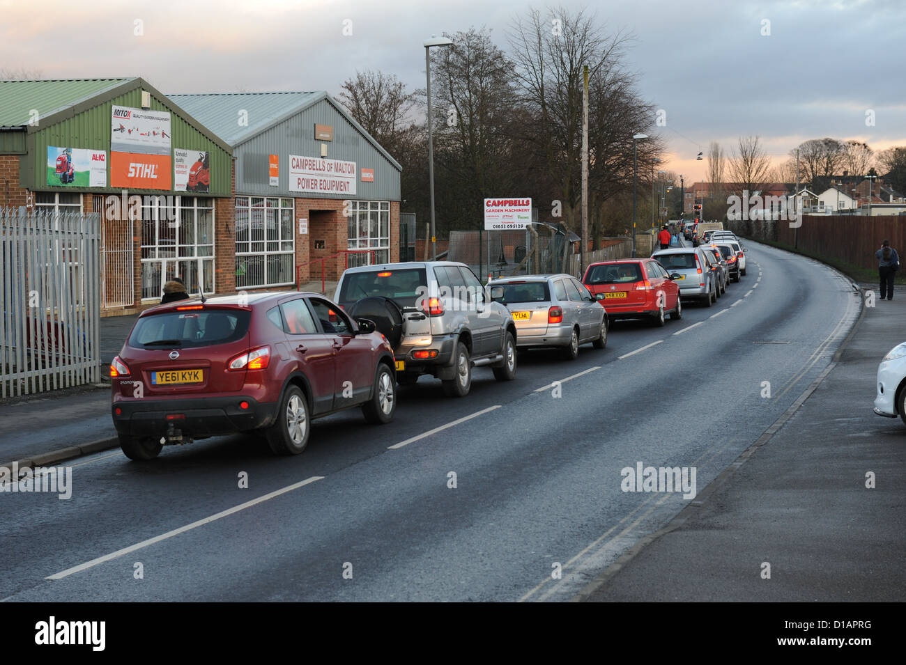 Traffic chaos caused by floods in Norton on Derwent, North Yorkshire, December 2012 - Stock Image