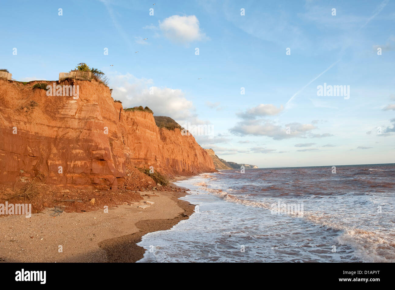East Cliffs at Sidmouth in Devon with severe coastal erosion and landslips - Stock Image