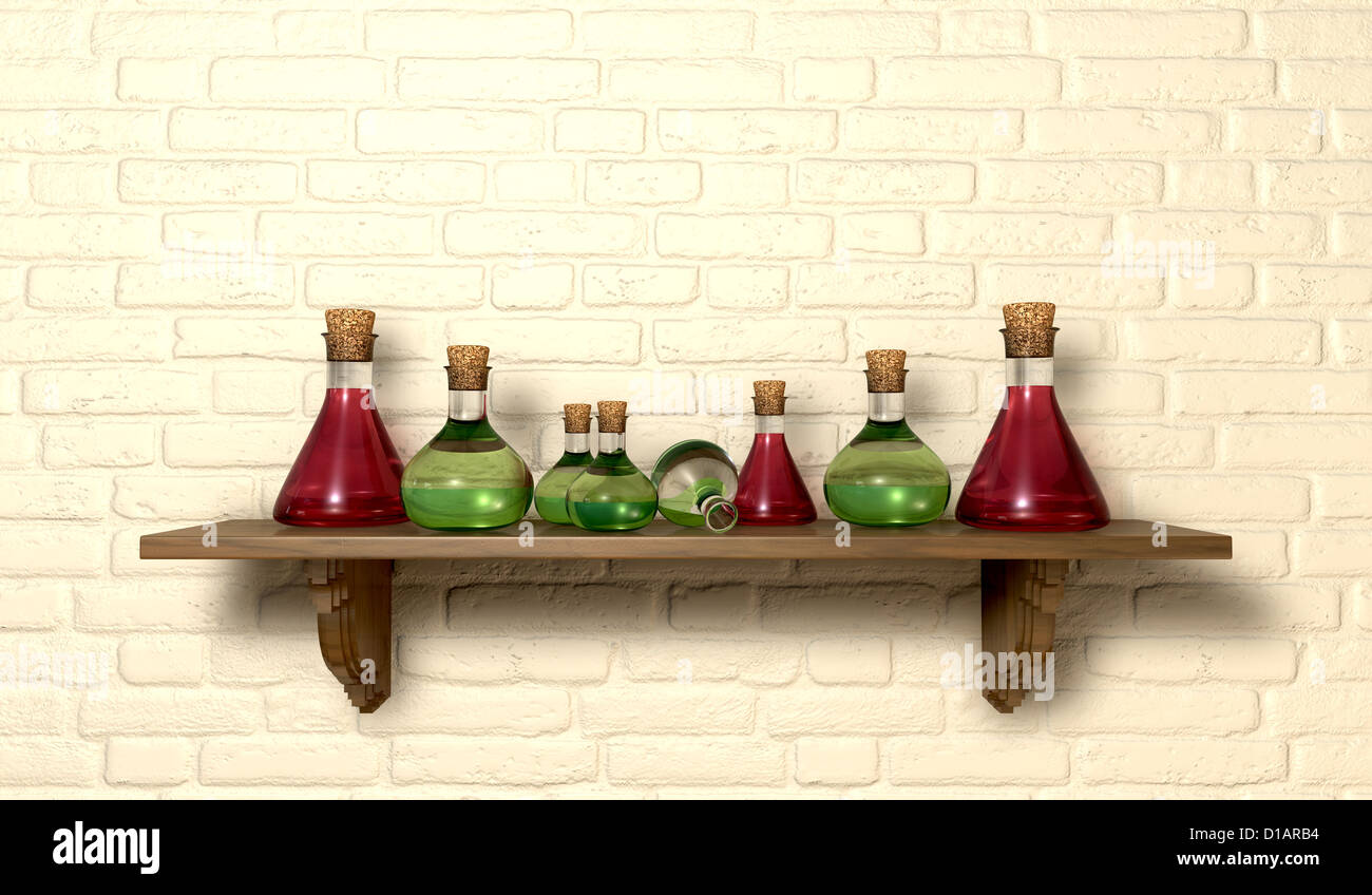 A Front View Of Collection Potion Bottles On Wooden Shelf Mounted