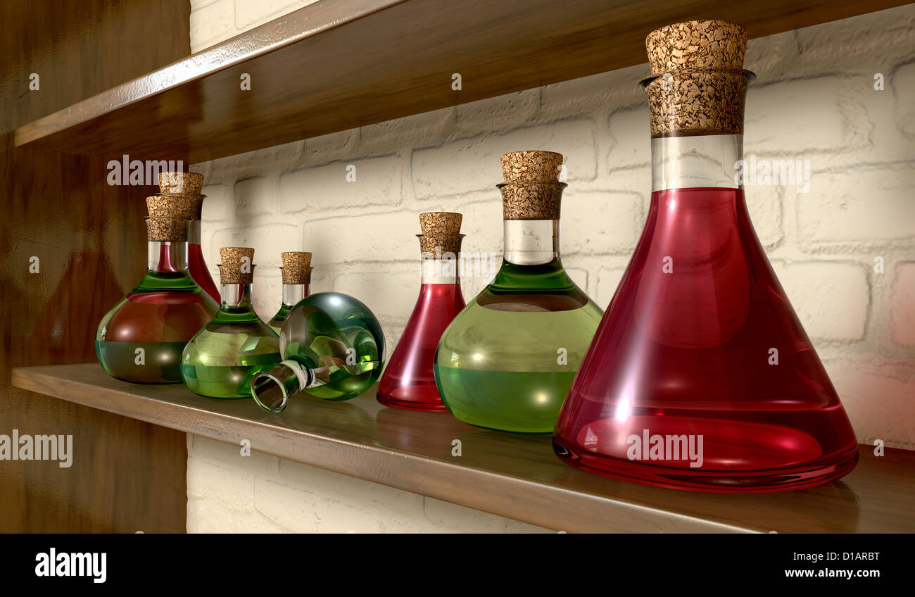 A Perspective View Of Collection Potion Bottles On Wooden Shelf Mounted