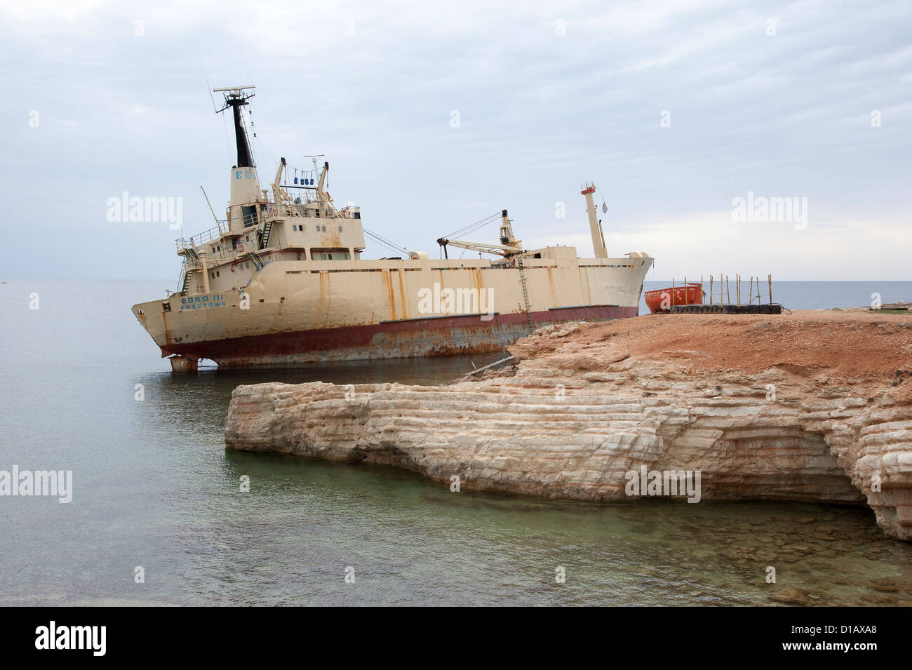 Edro III cargo ship aground close to the Sea Caves at Coral Bay near Paphos Cyprus - Stock Image