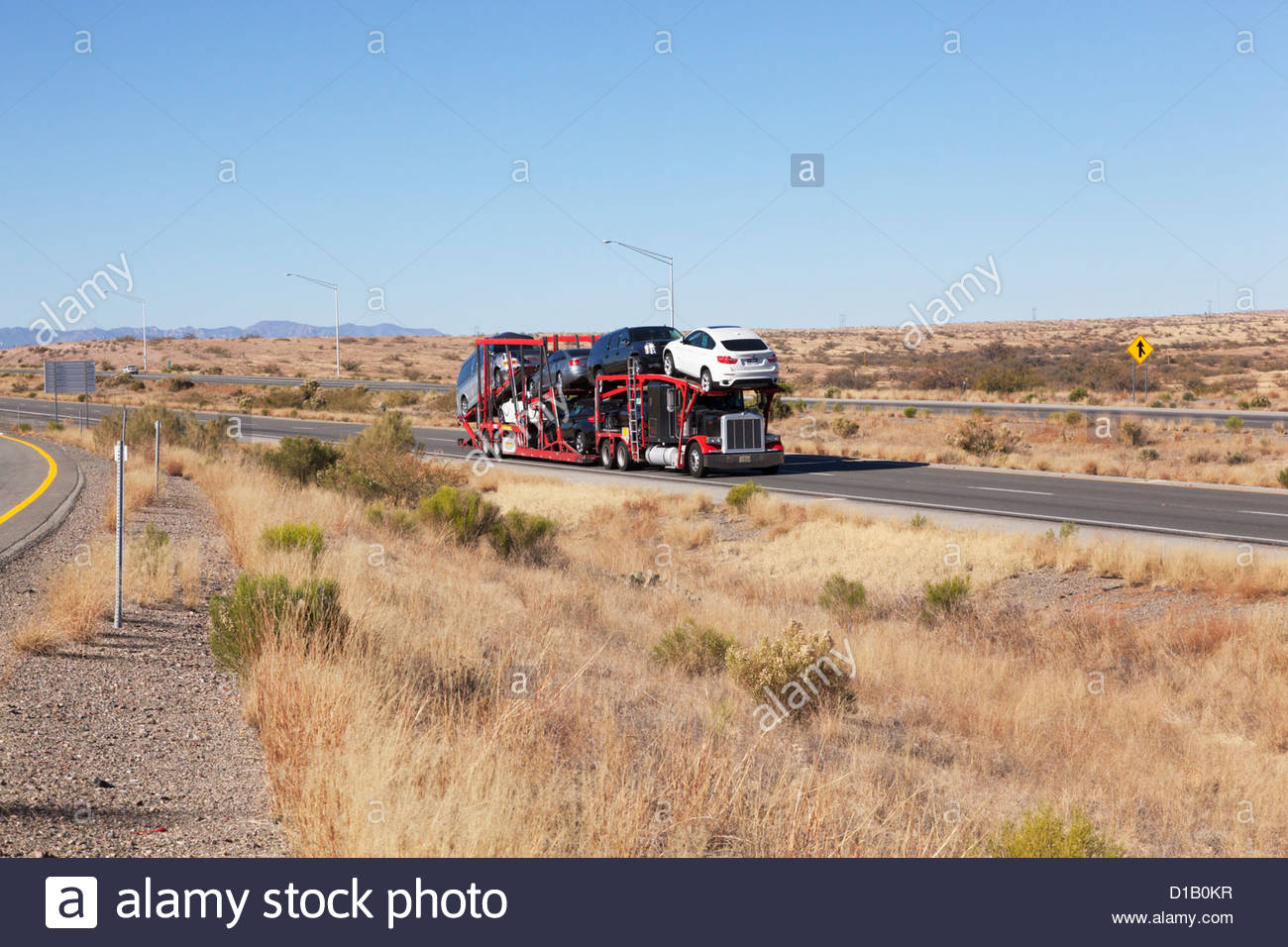 Tractor trailer hauling used cars on interstate highway Arizona ...