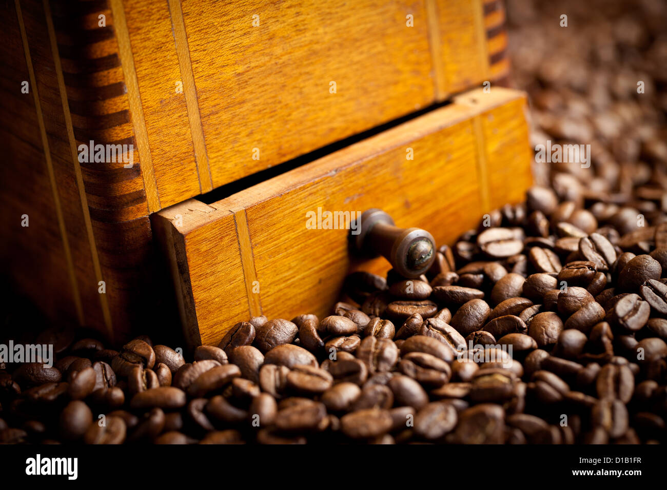 the detail of antique coffee mill - Stock Image