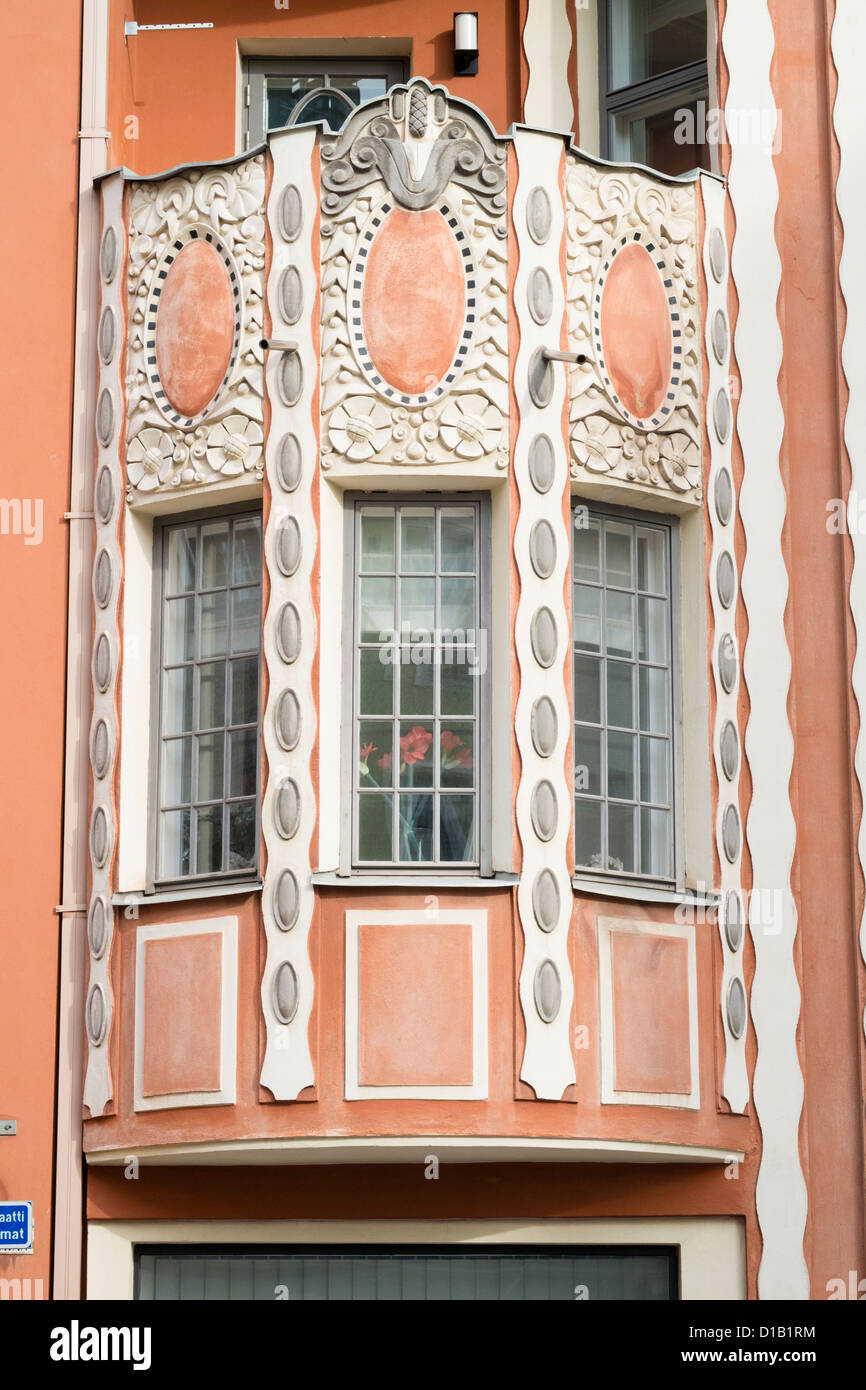 Detail of art nouveau decoration on apartment building in Helsinki Finland - Stock Image