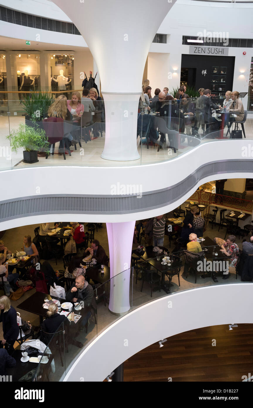 Interior of chic shopping mall in Helsinki Finland - Stock Image