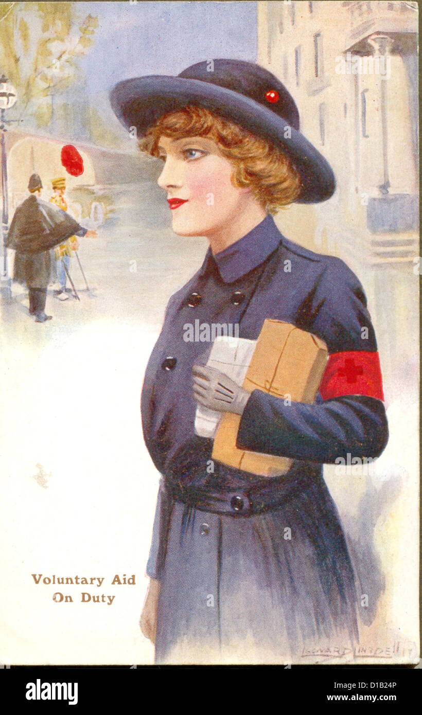 World War One postcard of Voluntary Aid on Duty - Stock Image