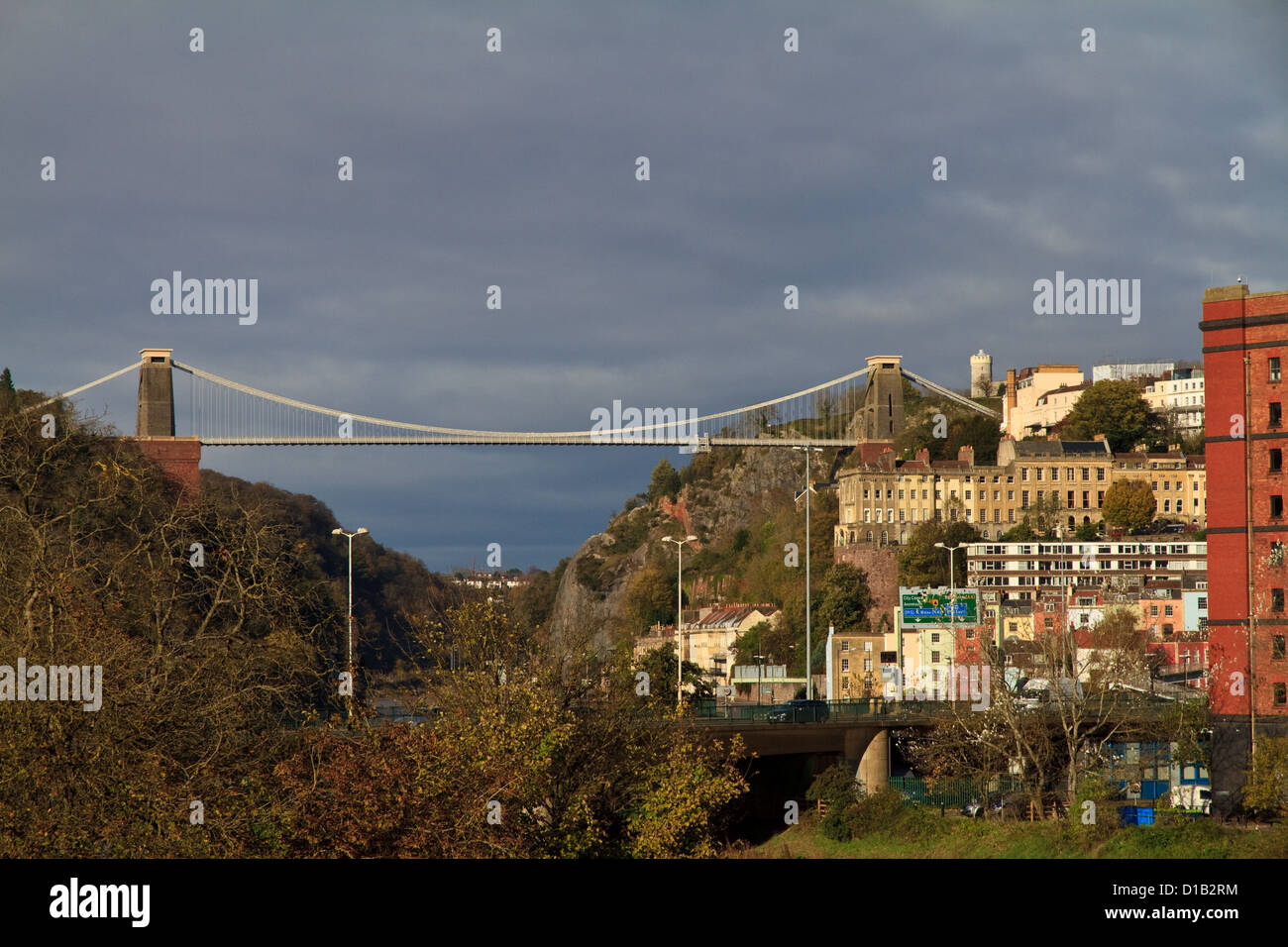 A view of Clifton Suspension Bridge, designed by Isambard Kingdom Brunel, and spanning the Avon Gorge - Stock Image